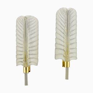 Apliques en forma de pluma de latón dorado de André Arbus para Vernones, años 50. Juego de 2