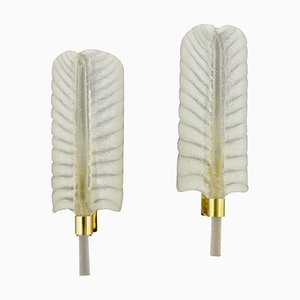 Feather Shaped Glass and Gilt Brass Sconces by André Arbus for Vernones, 1950s, Set of 2