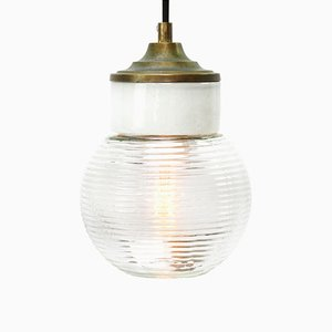 Vintage Industrial White Porcelain, Ribbed Clear Glass & Brass Pendant Light