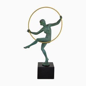 Art Deco Hoop Dancer Sculpture by Marcel Bouraine for Max Le Verrier, 1930s