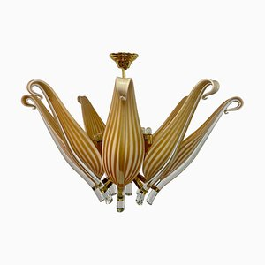 Murano Glass and Brass Chandelier, 1980s