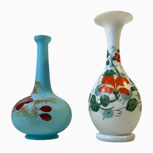 Antique Danish Satin Opaline Glass Vases from Fyns Glasværk, 1900s, Set of 2