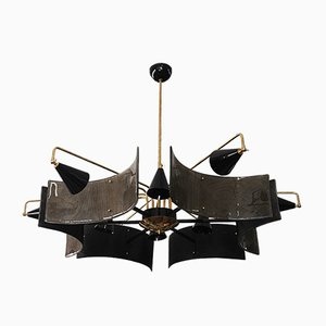 Mid-Century Murano Glass and Brass Ceiling Lamp, 1980s