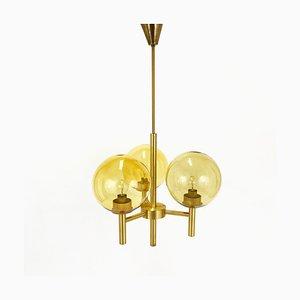 Schwedischer Messing Kronleuchter von Uno & Östen Kristiansson für Luxus, 1960er