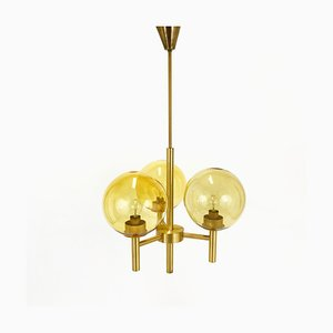Swedish Brass Chandelier by Uno & Östen Kristiansson for Luxus, 1960s