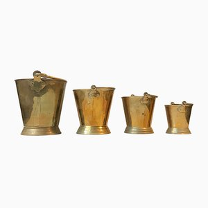Vintage Indian Brass Buckets, 1960s, Set of 4