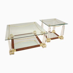 Mid-Century Italian Rosewood & Plexiglass Coffee Table with Side Table, Set of 2