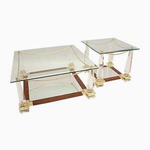 Table Basse Mid-Century en Palissandre & Plexiglas avec Table d'Appoint, Italie, Set de 2