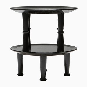 Tables d'Appoint Vintage Vernis Noir Laque, 1970s, Set de 2