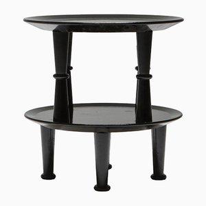 Tavolini vintage postmoderni laccati di nero, anni '70, set di 2