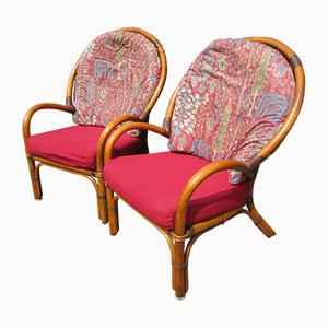 Rattan and Leather Armchairs, 1970s, Set of 2