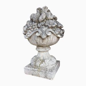 Cast Stone Basket of Fruits Garden Ornament, 1920s