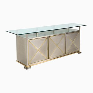 Credenza with Clear Glass Top from Maison Jansen, 1970s