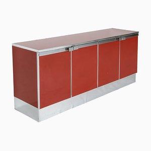 Credenza vintage de lacado rojo y cromado al estilo de Maison Jansen, años 80