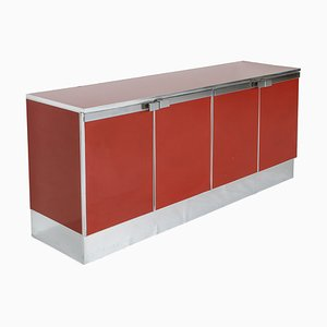 Vintage Red Lacquer and Chrome Credenza in the Style of Maison Jansen, 1980s