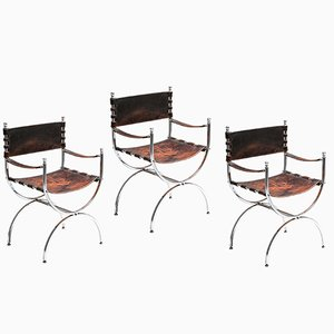 Vintage Leather and Chrome Savonarola Emperor Dining Chairs from Maison Jansen, 1970s, Set of 3