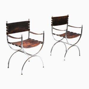 Chaises de Salon Savonarola Emperor Vintage en Cuir et Chrome de Maison Jansen, 1970s, Set de 5