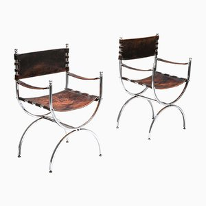 Vintage Leather and Chrome Savonarola Emperor Dining Chairs from Maison Jansen, 1970s, Set of 5