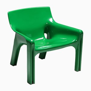 Vintage Green Vicario Armchair by Vico Magistretti for Artemide, 1970s