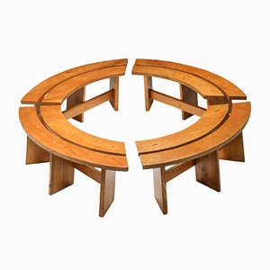 Mid-Century Curved Benches in French Elm from Pierre Chapo, Set of 4