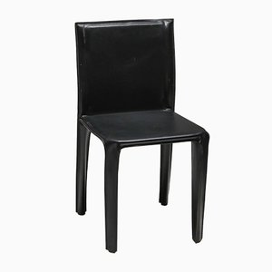 Vintage Black Leather Pasqualina CAB Dining Chairs by Enrico Pellizzoni for Grassi & Bianchi, 1970s, Set of 6