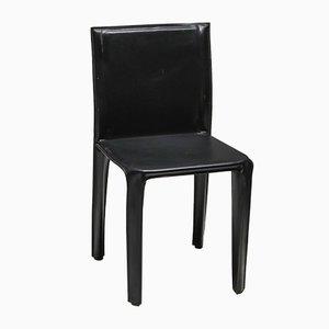 Vintage Pasqualena CAB-Esszimmerstühle aus schwarzem Leder von Enrico Pellizzoni für Grassi & Bianchi, 1970er, 6er Set