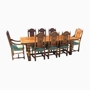 Golden Oak Refectory Table & High Back Dining Chairs Set, 1980s, Set of 9