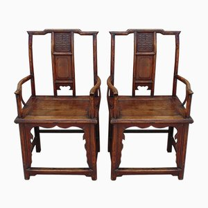 Antique Carved Elm Armchairs, 1900s, Set of 2