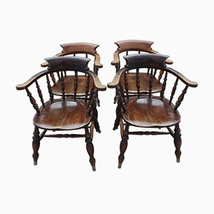 Antique Harlequin Oak Smokers Bow Armchairs, 1900s, Set of 4