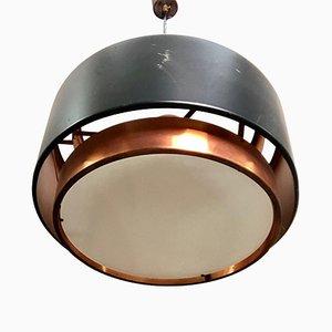 Lampada da soffitto in metallo e rame di Johannes Hammerborg per Fog & Mørup, Italia, anni '60