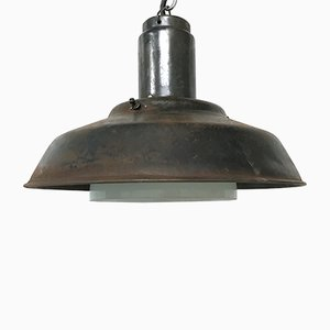 Industrial Metal & Opaline Glass Pendant Lamp, 1960s