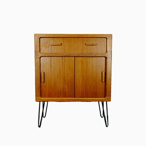 Danish Modern Teak Chest of Drawers with Black Hairpin Legs from Dyrlund, 1970s