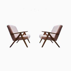 Mid-Century Model B 310 VAR Easy Chairs in Champagne Pink Velvet, 1960s, Set of 2