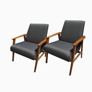 Mid-Century Charcoal Tweed Easy Chairs, 1960s, Set of 2