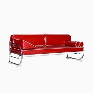 Bauhaus Red Tubular Chromed Steel Sofa from Robert Slezák, 1930s