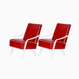 Mid-Century Czech Red and White Armchairs, 1950s, Set of 2