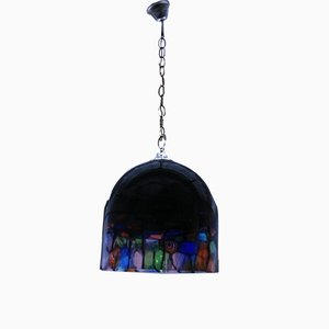 Vintage Bell-Shaped Glass Pendant Lamp by Noti Massari for Leucos