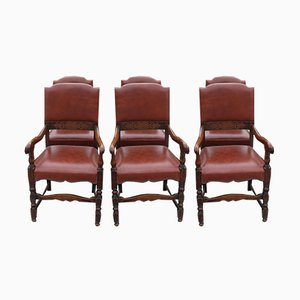 Oak and Red Leather Dining Chairs, 1920s, Set of 6
