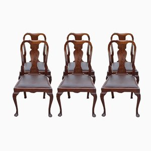 Walnut Dining Chairs, 1940s, Set of 6