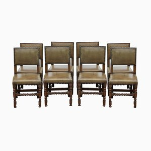 Antique Oak and Leather Bobin Dining Chairs, Set of 8