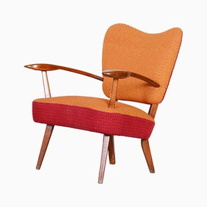Mid-Century Czech Red and Orange Oak Armchair, 1940s