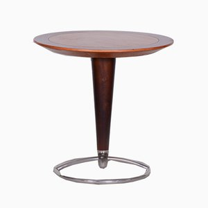 Small Mid-Century Czech Brown Beech and Ash Chrome Round Coffee Table, 1960s