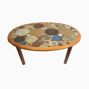 Teak & Ceramic Mosaic Coffee Table by Tue Poulsen for Haslev Møbelsnedkeri, 1970s