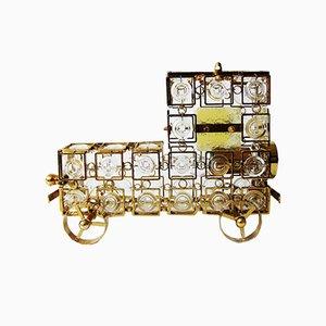 Vintage Gilded Metal Glass Locomotive Table Lamp