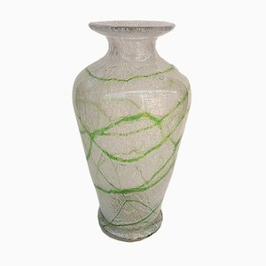 Vintage Foam Glass Vase with Green Thread Decor by Johann Lötz Witwe for Spiegelau