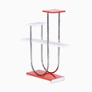 Bauhaus Czech Chrome and Lacquered Wood Flower Stand from Slezak, 1930s
