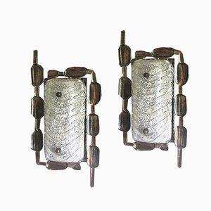 Brutalistische Mid-Century Wandlampen aus Bronze & Glas, 2er Set
