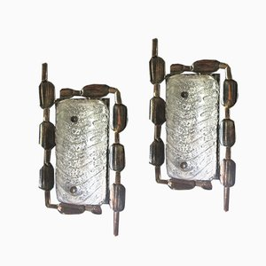 Mid-Century Brutalist Style Bronze & Glass Wall Lights, Set of 2