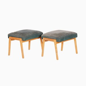 Mid-Century Green Beech Stools, 1960s, Set of 2