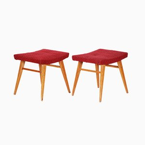 Mid-Century Red Beech Stools, 1960s, Set of 2